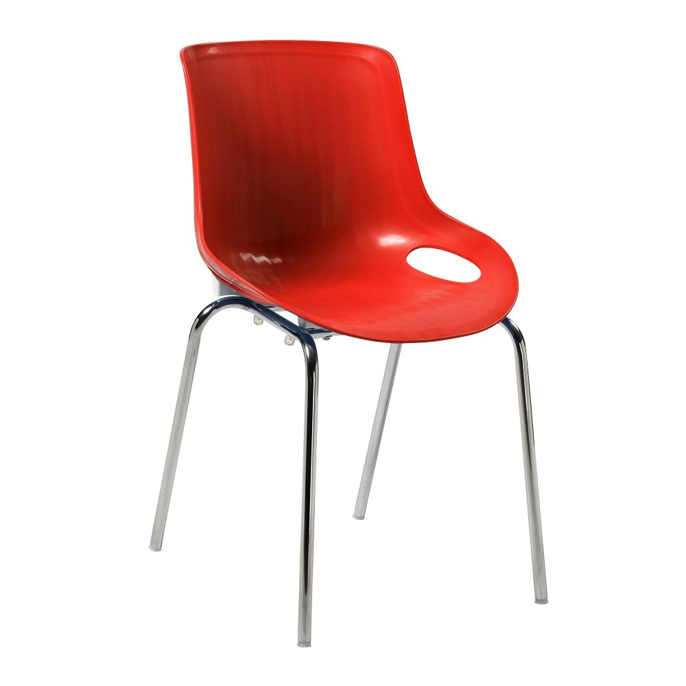Americano TWO Stylish Lightweight and Stackable Poly Chair with a Chrome Frame in Red